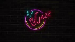 Het teken van de neonjazz met saxofoon en nota's over bakstenen muur
