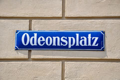Het teken van de Odeonsplatzstraat - München, Duitsland Stock Afbeelding