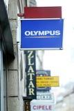 Het teken van de Olympuswinkel in stadscentrum Royalty-vrije Stock Afbeeldingen