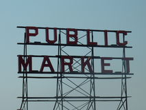 Het teken van de Openbare Markt van Seattle Stock Afbeeldingen