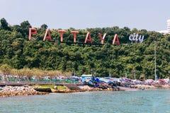 Het teken van de Pattayastad Beroemd Stadsoriëntatiepunt in Thailand Stock Foto
