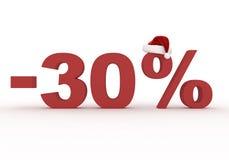 30 het teken van de percentenkorting in de hoed van Santa Claus Stock Foto