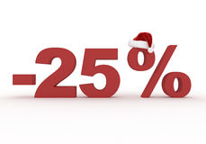25 het teken van de percentenkorting in de hoed van Santa Claus Royalty-vrije Stock Foto