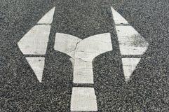Het teken van de pijl, recht en weggegaan Stock Foto