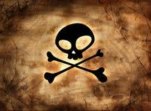 Het teken van de piraat op uitstekend document Stock Foto's