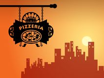 Het teken van de pizzeria Stock Foto's