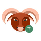Het teken van de Ramastrologie op wit wordt geïsoleerd dat Het symbool van de horoscoopdierenriem Royalty-vrije Stock Foto's