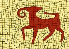 Het teken van de Ramdierenriem in een mozaïek royalty-vrije stock afbeeldingen
