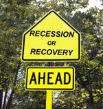 Het teken van de recessie of van de terugwinning. Stock Afbeeldingen