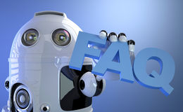Het teken van de robotholding FAQ. Technologieconcept. Royalty-vrije Stock Foto