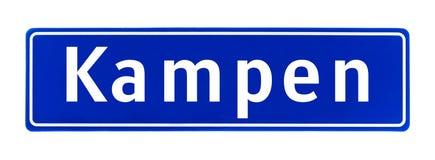 Het teken van de stadsgrens van Kampen, Nederland stock fotografie