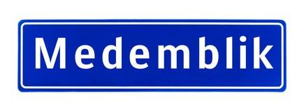 Het teken van de stadsgrens van Medemblik, Nederland Stock Afbeeldingen