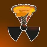 Het teken van de stickerstraling met een kernexplosie Vector illustratie Royalty-vrije Stock Foto