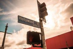 Het Teken van de Straat van Hollywood stock afbeelding