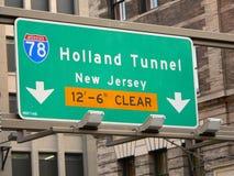 Het Teken van de Straat van de Tunnel van Holland de Stad in van Manhattan, New York Stock Fotografie