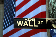 Het teken van de straat voor Wall Street Royalty-vrije Stock Foto's