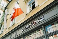 Het teken van de Swarovskiwinkel van de Internationale Holdings van Swarovski stock afbeelding