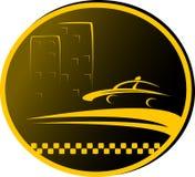 Het teken van de taxi met weg, cabine en huis stock illustratie