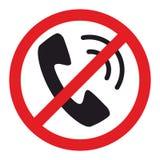 Het teken van de telefoonbeperking op witte achtergrond wordt geïsoleerd die Stock Afbeelding
