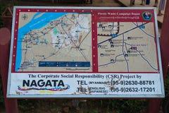 Het teken van de toeristeninformatie bij Shwesandaw-Pagode Royalty-vrije Stock Fotografie