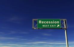 Het Teken van de Uitgang van de Snelweg van de ?recessie? Royalty-vrije Stock Foto