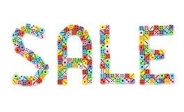 Het teken van de verkoop wordt gemaakt dat van dobbelt Royalty-vrije Stock Afbeeldingen