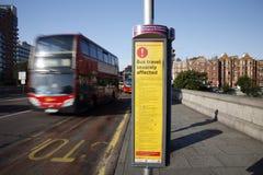 Het Teken van de Verstoring van de bus, Olympisch Londen Stock Foto