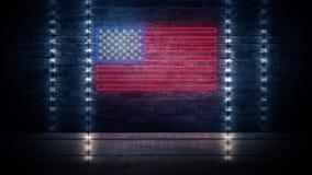 Het teken van het de vlagneon van de V.S. Dag de V.S. Feestelijke achtergrond stock fotografie