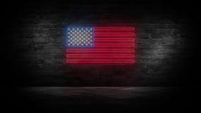 Het teken van het de vlagneon van de V.S. Dag de V.S. Feestelijke achtergrond royalty-vrije stock afbeeldingen