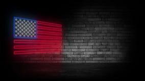 Het teken van het de vlagneon van de V.S. Dag de V.S. Feestelijke achtergrond royalty-vrije stock foto's