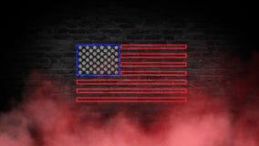 Het teken van het de vlagneon van de V.S. Dag de V.S. Feestelijke achtergrond royalty-vrije stock fotografie