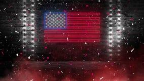 Het teken van het de vlagneon van de V.S. Dag de V.S. Feestelijke achtergrond stock foto