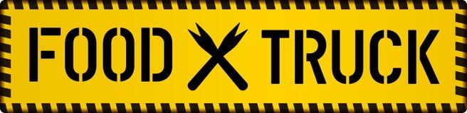 Het teken van de voedselvrachtwagen, van het straatvoedsel of van het snelle voedsel concept, vector stock illustratie