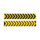Het teken van de voorzichtigheid pijl gele en zwarte kleur De gevaarwaarschuwing voor gevulde tekst en symbolen royalty-vrije illustratie