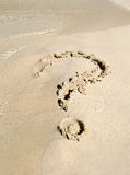 Het teken van de vraag op zand Royalty-vrije Stock Foto