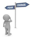 Het Teken van de vreesmoed wijst Verschrikkings op Moed en Bepaling het 3d Teruggeven vector illustratie