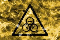 Het teken van de de waarschuwingsrook van het Biohazardgevaar Driehoekig waarschuwingsgevaar s Stock Foto