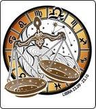 Het teken van de Weegschaaldierenriem. Horoscoopcirkel. Royalty-vrije Stock Afbeeldingen