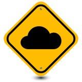 Het teken van de wolkenkant van de weg Stock Fotografie