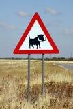 Het Teken van de Wrattenzwijnen van het gevaar - Namibië stock fotografie