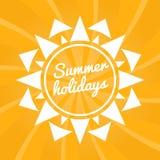 Het teken van de de zomervakantie met zon Heldere de zomerachtergrond royalty-vrije illustratie