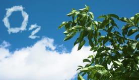 Het teken van de zuurstof van wolken. Stock Foto's