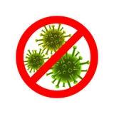 Het teken van eindevirussen Vector rode Eindeteken en virussen achter het stock illustratie