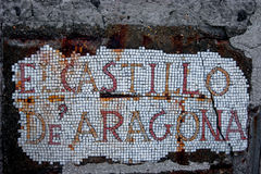 Het teken van El Castillo DE Aragon stock fotografie