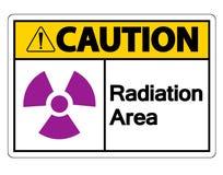 Het Teken van het het Gebiedssymbool van de voorzichtigheidsstraling op witte achtergrond, Vectorillustratie stock illustratie