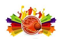 Het teken van het basketbal op de gekleurde sterren Royalty-vrije Stock Foto