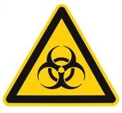 Het teken van het Biohazardsymbool, biologisch bedreigingsalarm, isoleerde zwarte gele signage van het driehoeksetiket, grote ged stock foto