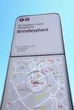 Het teken van het Brindeyplacekanaal, Birmingham stock foto's