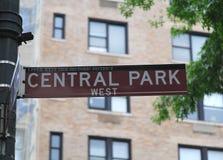 Het Teken van het Central Park Stock Afbeelding