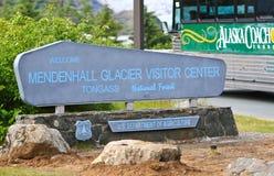 Het Teken van het Centrum van de Bezoeker van de Gletsjer van Alaska Mendenhall Royalty-vrije Stock Afbeelding